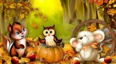 Happy Fall Backgrounds | Happy Fall Friends - autumn, owl, fall, chipmunk, leaves, whimsical ...