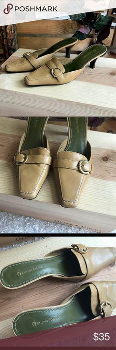 """4a2607d1846 Shop Women s Etienne Aigner Tan size 8 Mules   Clogs at a discounted price  at Poshmark. Description  Etienne Aigner """"Lauren"""" buckle kitten heel mule  Size 8 ..."""