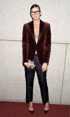 Jenna Lyons wore a velvet blazer, trousers, black pointed toe heels, and a small clutch.