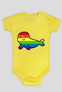 Rainbow Blebs - infant bodysuit (available in many different colors) #seals #rainbow #cartoon #cute #babyclothes Other merchandise with this design: https://whattheblebs.cupsell.com/k/rainbow-blebs