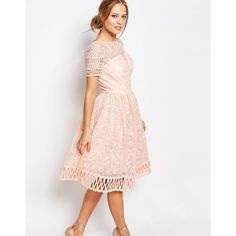 Chi Chi London Premium Lace Dress with Cutwork Detail and Cap Sleeve ($114) ❤ liked on Polyvore featuring dresses, pink, lace dress, tall dresses, cap sleeve dress, pink lace cocktail dress and cap sleeve cocktail dress