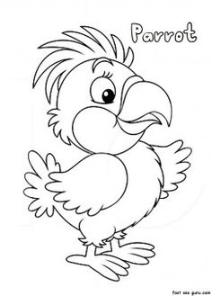 print out parrot coloring pages printable coloring pages for kids - Coloring Prints