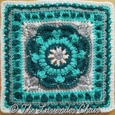 square # 4 -Sea Flower Mandala Square - Mandala Blanket CAL 2016 - Free Crochet Pattern - The Lavender Chair Free Crochet Square, Crochet Squares Afghan, Crochet Square Patterns, Crochet Blocks, Crochet Granny, Crochet Motif, Crochet Yarn, Stitch Patterns, Granny Squares