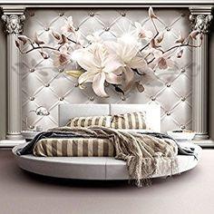 Wallpaper 300x210 cm ! Non-woven - Top - Murals - Wall - Mural - Photo - modern- flowers white texture b-A-0313-a-a: Amazon.co.uk: Kitchen & Home