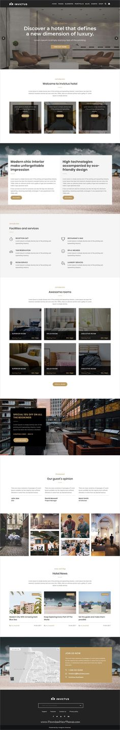 Invictus is clean and modern design responsive multipurpose WordPress templates for #hotel and #resorts website with 50+ niche homepage layouts and 250 UI blocks to live preview & download click on Visit  #webdevelopment