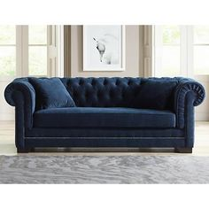 Feather and foam cushions under soft velvet upholstery make our Danube sofa a spot for relaxing in signature style.