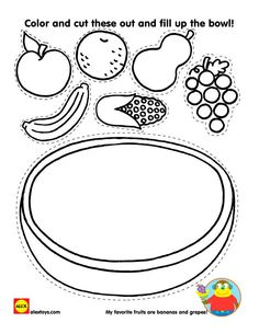 Fruit is an essential part to a healthy diet.Have a discussion on healthy eating habits with your child while completing this fruit bowl printable | alexbrands.com