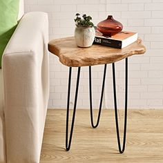 AmazonSmile: WELLAND Cedar Wood Stump End Table Rustic Surface Side Table With 3-Leg Metal Stand: Kitchen & Dining