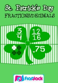 FREE St. Patrick's Day Fraction and Decimal Shamrock Puzzles