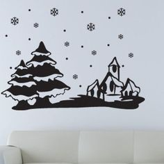 "Style and Apply Christmas Winter Snowscape Wall Decal Size: 31"" H x 24"" W, Color: Royal Blue"