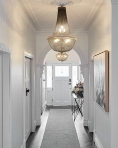 Create a great impression to your hallway by illuminating and decorating this space. Stylish hallway lighting ideas will give a welcoming circumference from the start. Most of all, it is . Led Hallway Lighting, Hallway Lamp, Dark Hallway, Modern Hallway, Hallway Chandelier, Entrance Lighting, Hallway Runner, Narrow Hallway Decorating, Hallway Ideas Entrance Narrow