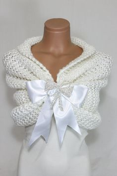 Wedding Shawl with Satin Ribbon and Silver Plated Rhinestone Crystal Brooch    It is a made to order item just for you.    Hand wash with cold water