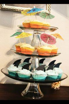 Vintage Surfer - beach themed party ...first birthday for our boy!  Cupcake idea - sharks & beach umbrellas