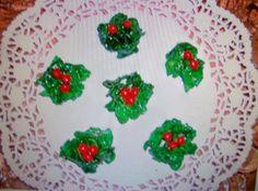 Christmas HOLLY Cookies NO BAKE by Freda