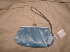 Coach Pond Blue Satin Wristlet Clutch NWT #Coach #ShoulderBag