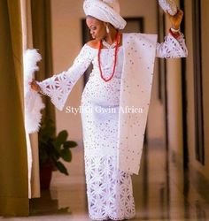 """The aso oke which translate's to """"top cloth"""" in English is a very fabulous but pricey fabric but because its a wedding ceremony spending top Naira African Lace Styles, African Lace Dresses, Latest African Fashion Dresses, African Dresses For Women, African Print Fashion, Latest Fashion, Nigerian Wedding Dresses Traditional, Traditional Wedding Attire, Traditional Weddings"""