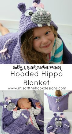 I'm slowly building on a theme of Jungle Blankets! We've just added our Crochet Hooded Hippo Blanket to the collection! This summer I posted one of my old photos of a newborn hippo set. It brought back all the happy hippo feels and I knew I needed to ma Crochet Fox, Crochet Gifts, Diy Crochet, Crochet Animals, Crochet Afghans, Crochet Blanket Patterns, Baby Blanket Crochet, Crochet Blankets, Afghan Patterns