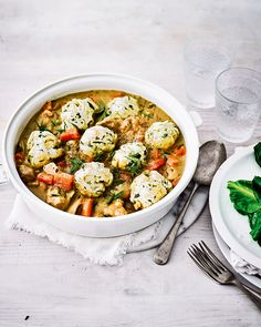 The tarragon dumplings which top this easy chicken casserole are made with yogurt, instead of suet, making them wonderfully light.