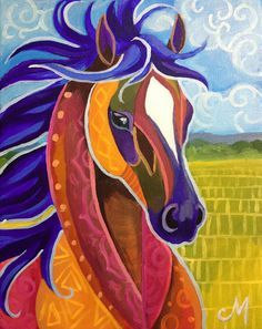 Morian Art: Another Finished Horse Quilt, Arte Pop, Equine Art, Horse Art, Animal Paintings, Horse Paintings, Pastel Paintings, Whimsical Art, Art Plastique