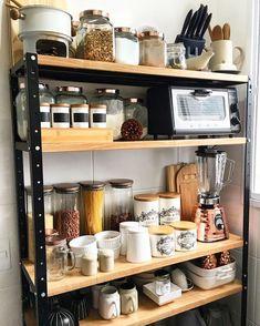 Best Kitchen Appliance Storage Rack Design Ideas For You 31 Rustic Kitchen Design, Home Decor Kitchen, Country Kitchen, Kitchen Items, Kitchen Appliance Storage, Kitchen Rack, Kitchen Storage Racks, Kitchen Appliances, Rack Design