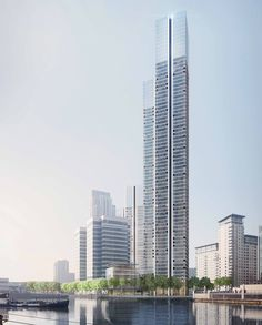 foster + partners has submitted plans to redevelop south quay plaza in east london, a project that comprises two high-rise residential towers. Futuristic Architecture, Facade Architecture, Residential Architecture, Amazing Architecture, Commercial Architecture, Landscape Architecture, Condominium Architecture, Minimalist Architecture, Futuristic Design