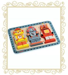 Chunky Puzzle Robot via French Blossom Wooden Puzzles, Wooden Toys, Bobble Art, Just Dream, Puzzle Toys, Baby Kind, Imaginative Play, Early Learning, Toys For Boys