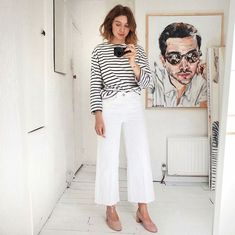 New style inspiration summer white jeans 38 ideas Wide Pants Outfit, Summer Pants Outfits, White Jeans Outfit, White Culottes Outfit, Pink Culottes, White Wide Leg Pants, Wide Leg Cropped Pants, Style Outfits, Casual Outfits
