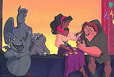 The gargoyles (Hugo,Victor, Laverne) with Quasimodo and Esmeralda in The Hunchback of Notre Dame   © Walt Disney Pictures