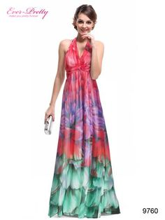 "Sexy  colorful v-neck  evening dress     Adjustable  halter style     Padded  enough for ""no bra"" option     Floral printed  make it more flirty    Concealed  back zip  to do up      Lining, no stretch     Cutting issues may make different patterns"