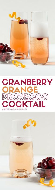 Bubbles add instant sparkle to a drink. This Cranberry Orange Prosecco Cocktail is a tasty way to toast friends and family this holiday season. #prosecco #cocktails #champagne #holidaydrinks #cranberry