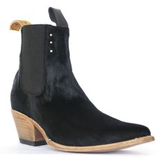 pskaufman Chelsea Boot in black fur. handmade with love. recycled tire outer soles.