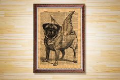 Animal poster Dog dictionary page Pug by CrowDictionaryPrints