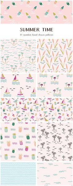 Summer Time Vector Patterns by Elan Creative Co. Art Courses, Summer Prints, Summer Design, Summer Patterns, Illustrator Tutorials, Pattern Illustration, Texture Design, Blog Design, Surface Pattern Design