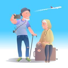 Old people travelling vector image @creativework247