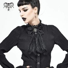 Brand:DEVIL FASHION Material:Polyester Weight:0.05KG Size:One Size Sku:AS07301 Women's Accessories, Vintage Fashion, Ruffle Blouse, Punk, Lace, Devil, Collection, Tops, Style