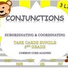 Conjunctions- Task Cards Bundle (3rd Grade)  INCLUDED:  Standards Addressed 2 sets of 24 task cards --1 with Multiple choice & 1 with out multi...