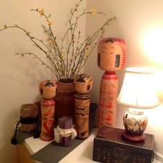 Collection of antique Japanese kokeshi dolls