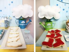 Awesome watering can centerpieces and how cute are these cloud and rain boot cookies?
