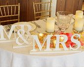 Mr and Mrs Wedding Signs for Sweetheart Table Decor - Wedding Sign Mr and Mrs Letters Wedding Sign- Mr & Mrs Table Sign ( Item - MB100 )