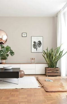This living room gives a very nice feeling. The copper ball ceiling lamp is a gr… This living room gives a very nice feeling. The copper ball ceiling lamp is a great match witch the wall color, the plants are a contrasting element. Living Room Windows, Living Room Interior, Home Living Room, Living Room Designs, Living Room Decor, Apartment Interior, Living Room Paint, Earthy Living Room, Copper Living Room