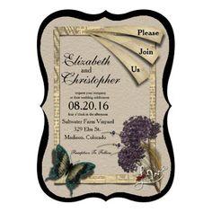 Vintage Look Bracket Shaped Wedding Invitation