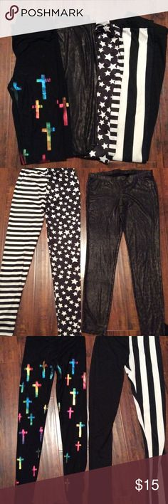 Set of 4 Small Black Pattern Leggings All 4 are size small in good condition. Leopard print are 2b by Bebe, the vertical stripe are Easel, and the other 2 are See You Monday. The vertical stripe are cotton, the others are Lycra. bebe Pants Leggings