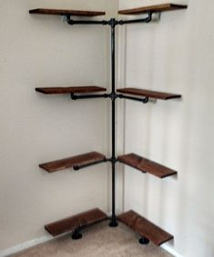 Home Decor Themes Industrial Iron Pipe Corner Shelf by EngravingEclectic on Etsy.Home Decor Themes Industrial Iron Pipe Corner Shelf by EngravingEclectic on Etsy Vintage Industrial Furniture, Industrial Living, Rustic Industrial, Industrial Apartment, Rustic Chic, Industrial Racking, Industrial Kitchens, Industrial Closet, Urban Rustic