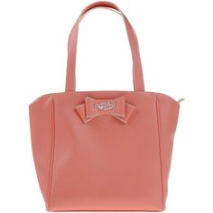 Tua By Braccialini Shoulder Bag ($96) ❤ liked on Polyvore featuring bags, handbags, shoulder bags, salmon pink, red bow purse, red handbags, pink purse, pink shoulder bag and shopping bag