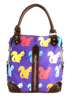 Squirrels Just Wanna Have Fun Bag - Purple, Multi, Print with Animals, Exposed zipper, Pockets, Colorblocking