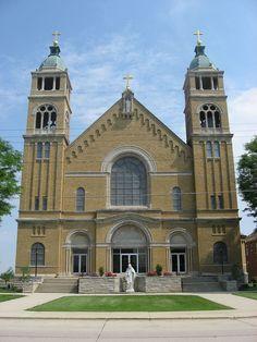 St. Bernard Catholic Church and Rectory in Mercer County, Ohio.