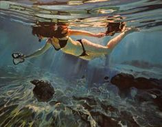 "Saatchi Art Artist Marco Ortolan; Painting, ""Diving the Ocean ll"" #art"