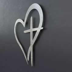 Modern Metal Wall Cross with Heart. (We can make this design up to 60 & Large 44X23 Abstract Metal Cross Sculpture Wall Art Religious Gold ...