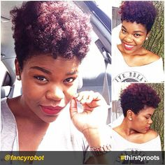 Im thinking really hard about cutting my hair.this look inspires me Natural Hair Short Cuts, Tapered Natural Hair, Be Natural, Natural Hair Styles, Natural Girls, Dreads, Tapered Afro, Tapered Sides, Crop Hair