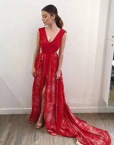 long red lace v-neck side slit 2017 charming prom dress,BD172613